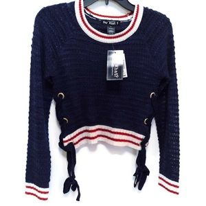 Say What? Jrs. SZ S Navy Sweater NWT